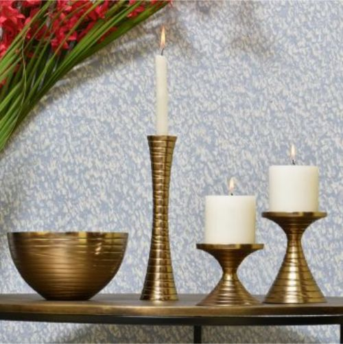 VALENTINO PILLAR CANDLE STAND GOLD